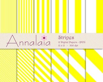 INSTANT DOWNLOAD Digital Paper Pack: Yellow and White Stripes 12x12 8,5x11 Digital Scrapbook Paper Commercial Use 096