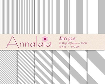 INSTANT DOWNLOAD Digital Paper Pack Silver Gray White Vertical Diagonal Stripes Lines 12x12 8,5x11 Scrapbook Paper Commercial Use 225