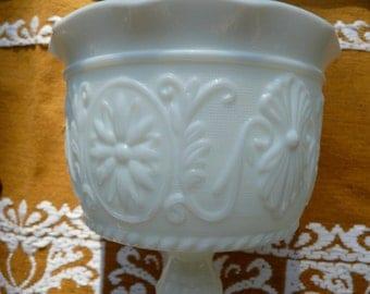 Vintage Milk Glass - Pressed Milk Glass  - Fenton - Pedestal Serving Bowl - Milk Glass Compote - Vintage Spooner - White Glass