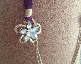 Upcycled costume necklace leather, gold and purple