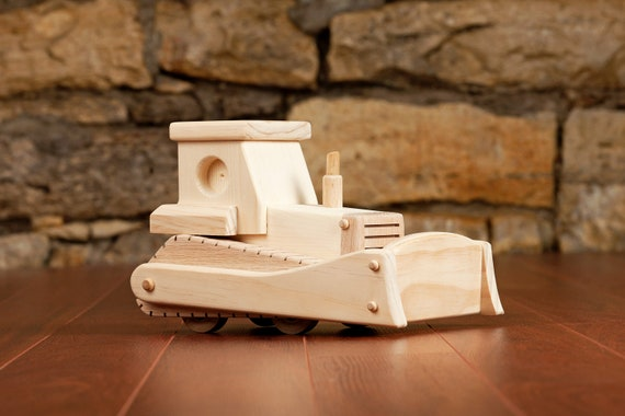 Handmade Wooden Bulldozer Toy