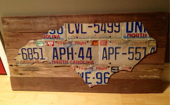 Upcycled North Carolina License Plate Art By Trianglerevival