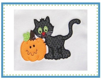 086 Trick or Treat Halloween Cat Kitty with Pumpkin Jack O Latern applique digital design for embroidery machine by Applique Corner