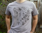 Ursa Major - Spirit Bear of the Night Sky - Dark Brown ScreenPrint on Mens or Unisex Soft Long Gray T-shirt