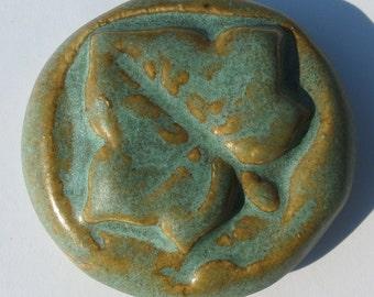 LEAF Pocket Stone - Ceramic - OLD COPPER Art Glaze - Inspirational Art Piece
