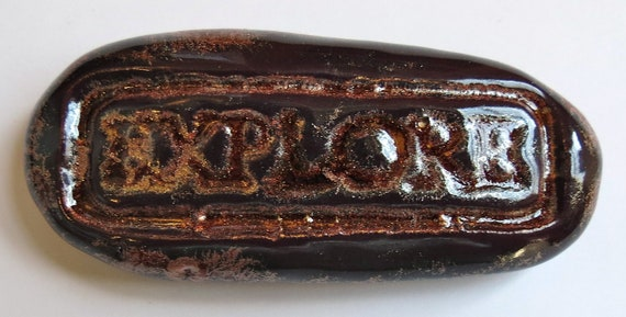 EXPLORE Pocket Stone - Ceramic - COPPER ADVENTURE Art Glaze - Inspirational Art Piece