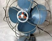 Vintage Desk Fan, Vintage Table Fan, Silex HandyBreeze Fan, Blue and Orange Badge