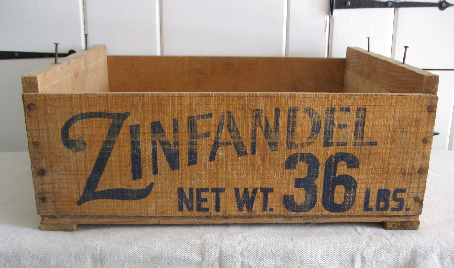vintage wood crate zinfandel grape crate by riverhousedesigns