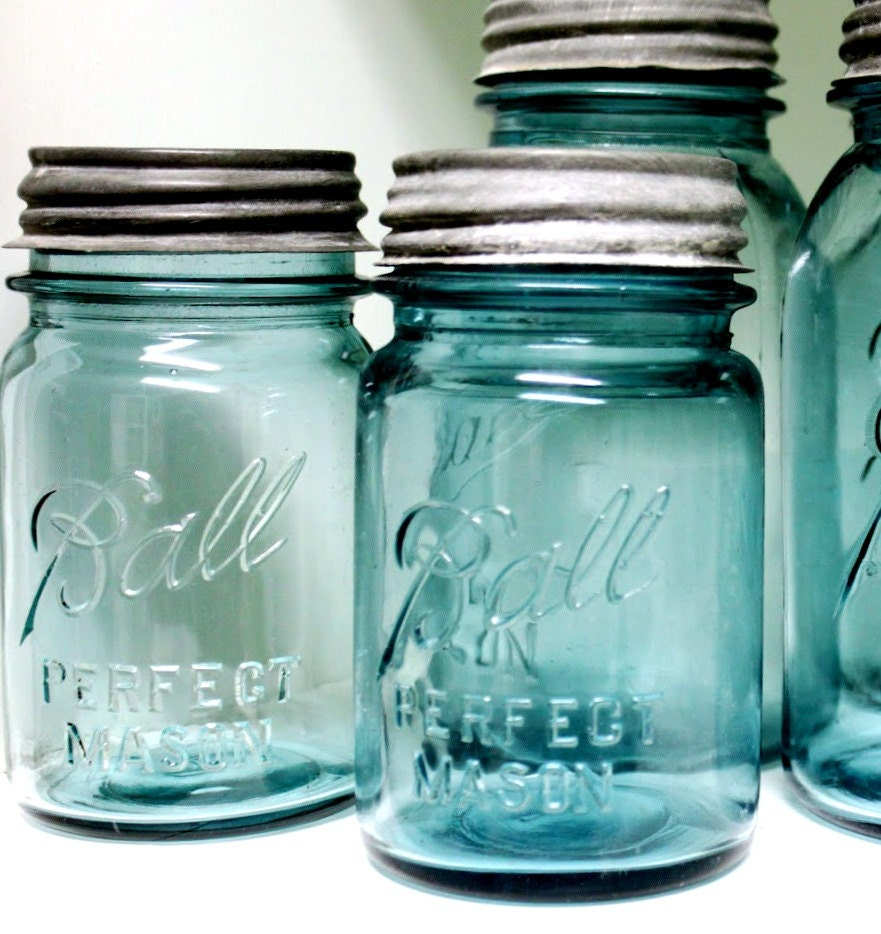 mason jar antique blue ball jar pint size by riverhousedesigns