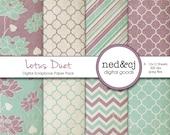 Shabby Chic Digital Scrapbook Paper Pack - Lotus Duet - Vintage Digital Paper - Plum & Seafoam Floral - INSTANT DOWNLOAD