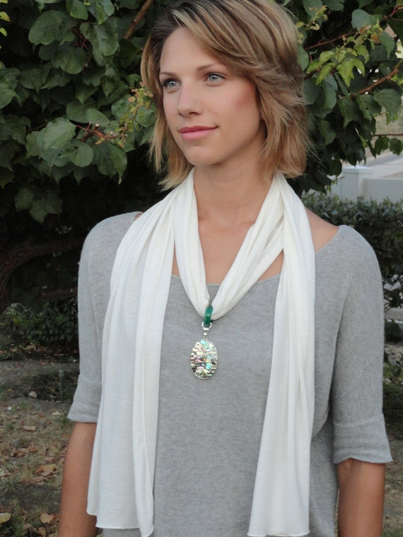 Chakra Healing Hemp Scarf with Shell, Abalone and Agate Pendant  - Gifts under 50