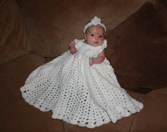 Crochet Baptism Dress - Baby Girl Dress - Christening Gown - Baby Blessing Dress - Special Occasion Dress - White Dress - Infant Girl Dress