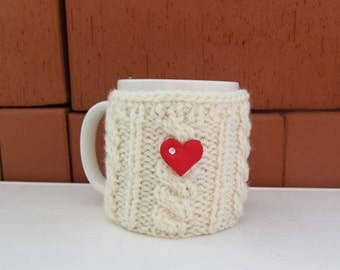 Christmas Coffe Cozy,Red heart Mug Cozy, Cup Cosy, Mug Warmer knitted, ecru color, button, valentines gift, Mothers  Day,CHOOSE YOUR COLOR