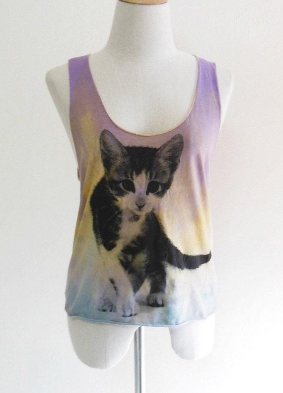 Cat Face Animal Style Tank Top Yellow And Violet Dyed Fabrics Screen Print Women Crop Top Tee Shirt Cat T-Shirt Size M