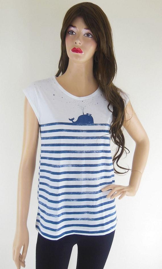 Whale Fish Sea Ocean Animal Style Art Fashion Women T-shirt Animal Tunic Tank White T-Shirt Screen Print  Size M