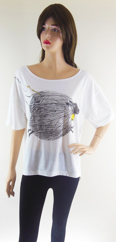 Sheep Yarn Fluffy Animal Bat Sleeve Women T-Shirt Front Short Than White Short Sleeve T-Shirt Oversize Screen Print Size L