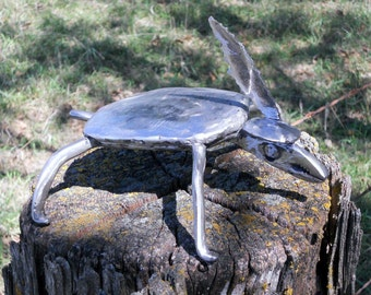 Turtle Metal Sculpture Hat Feather Yard Art Garden Art Found Objects