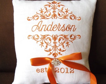 Last Name Monogram Ring Bearer Pillow