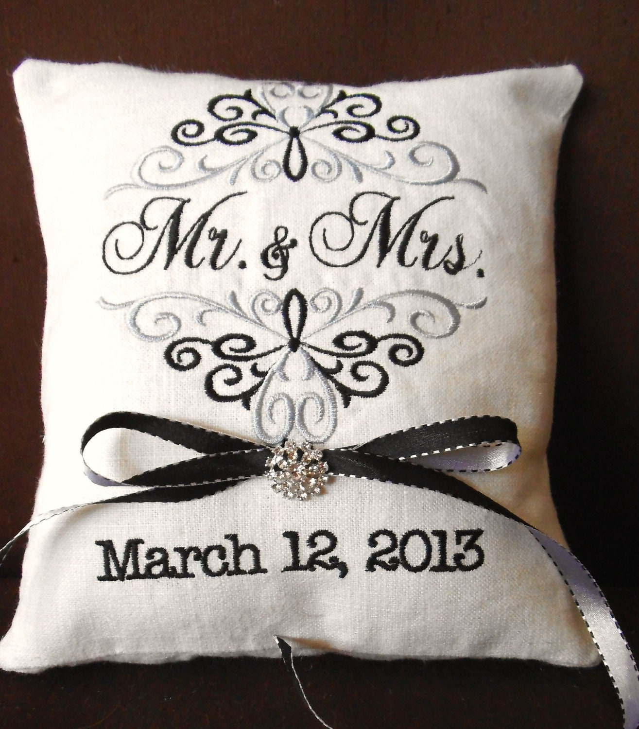 Monogram Wedding Ring Bearer Pillow: Mr. & Mrs. Personalized Embroidery Ring Bearer Pillow