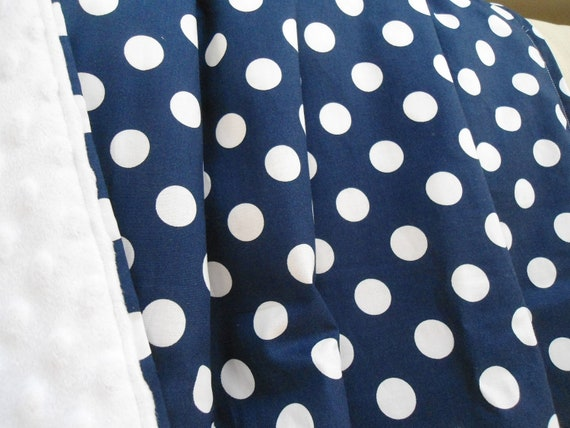 """Personalized Designer Navy Dot Baby Blanket with White Minky,  Boys Girls, 29"""" x 35"""", Custom Embroidery, Car Seat Receiving Stroller Blanket"""