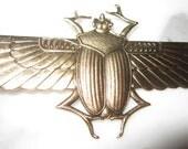 Oxidized Brass Scarab Wings Open