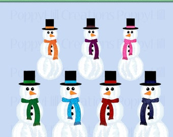 INSTANT DOWNLOAD - Printable Colorful Snowman Digital Clip Art - For Commercial and Personal Use - Digital Design