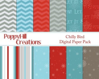 INSTANT DOWNLOAD - Printable Chilly Bird Digital Paper Pack - For Personal and Commercial Use - Digital Designs