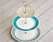Skan Dinette: Cake Stand, 3 Tier, Vintage Cake Plate, Turquoise, Cupcake Display Retro Theme, Gift Set