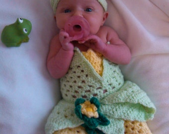 crochet Disney's Tiana from 'Princess and the Frog' inspired dress- sizes newborn-12months