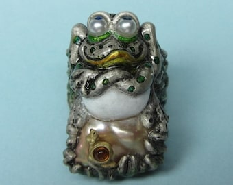 "Whimsical Silver Frog & Gold Snail Ring "" My Rock, My Rules"" Pearls, Sapphires, Citrine"
