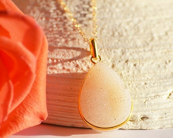 White Druzy necklace, Tear drop necklace, Gold or Silver, bezel set necklace, bridesmaid necklace, custom jewelry, white druzy jewelry