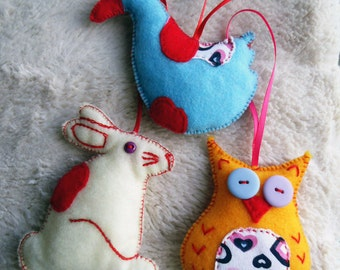 3 Felt Christmas decorations: Duck, Owl and Hare