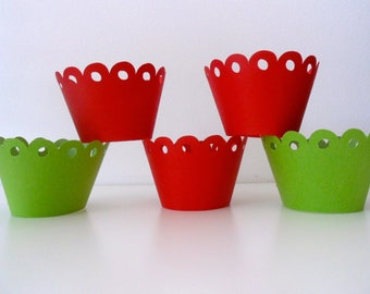 Christmas Cupcake wrapper / cupcake / party decor / party table / Red cupcake wrapper