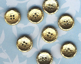 Set of 8 Shiny Gold Plastic  Buttons - 9/16 in