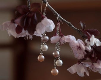Pretty Pink Pearl Earring, dangle earrings made of natural color freshwater pearls, sterling silver