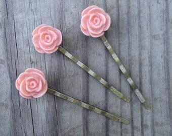 Pale Pink Flower Bobby Pin Set of Three