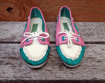 80s Turquoise , Pink and White Moccasin Style Loafers - size 7.5 ladies