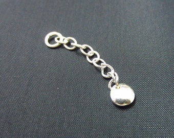 Sterling Silver 1.5 Inch Extender Chain with Round Shaped Drop