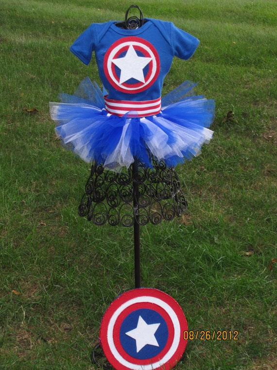 Medium  Captain America Tutu Outfit with Shield