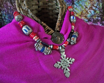Treasured Ethiopian beautiful silver Cross with Antique Tibetan Beads and African Tribal Trade Beads