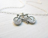 Bicycle necklace, charm necklace, silver necklace, simple necklace, everyday jewelry, bicycle pendant, Bike Necklace, Sports Jewelry