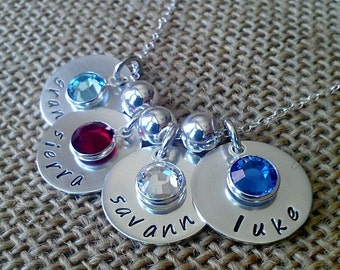 Personalized 4-Charm Kids Name Necklace - Custom Family Necklace - Stamped Evermore