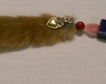 Hearts Squirrel Tail Keychain