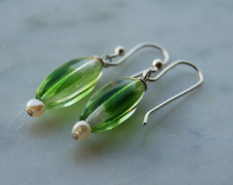 sterling silver earrings-vintage Czech green glass and freshwater pearls -hand made sterling earwires Pantone color 2017-Greenery