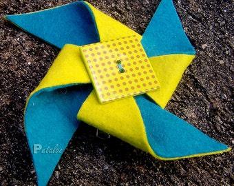 Felt Pinwheel Hairclip - Christmas Gift Blue Yellow Dots Square Button