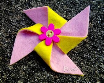 Yellow and Pink Pinwheel Hairclip