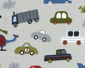 Car Fabric, Transportation, Vroom, Lesley Grainger, Denium, Boy,  white,red, blue,  fabric for boys,  Modern, Robert Kaufman, One Yard