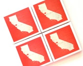 California State Art Print Ceramic Tile Drink Coasters – I Heart San Francisco -- Set of 4
