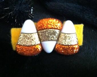 Candy corn hair clip
