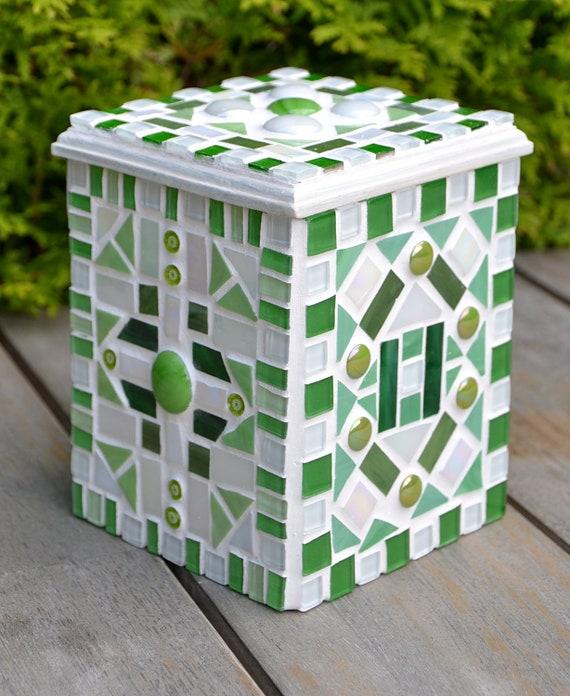 Box green mosaic glass